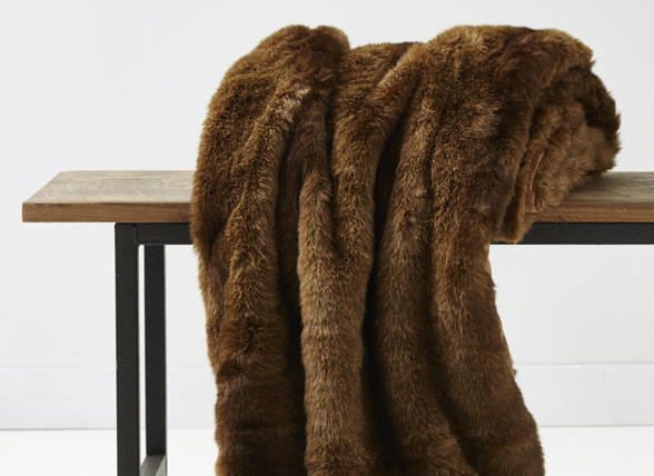 Essenza Home Fake Fur bontplaid Samo brown