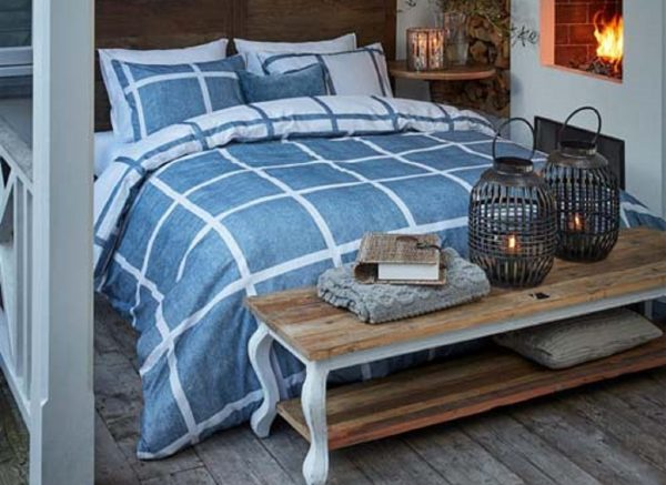 Riviera Maison dekbedovertrek flanel Grand Street blue