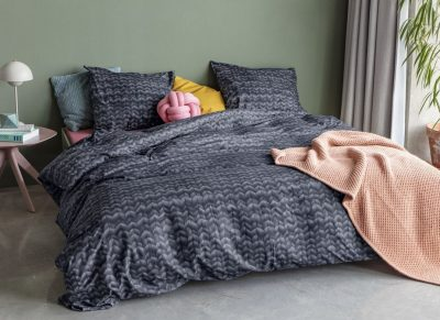 Snurk dekbedovertrek Twirre charcoal black
