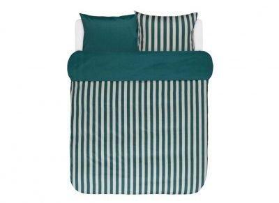 Marc O'Polo dekbedovertrek Classic Stripe pinegreen