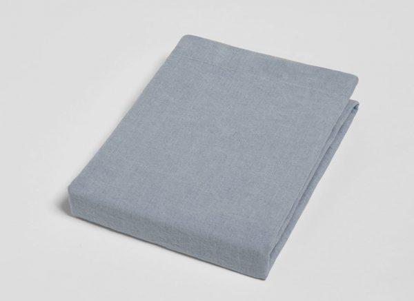 Yumeko hoeslaken washed linnen dusk blue