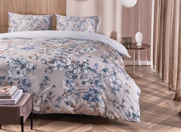 Kardol dekbedovertrek Fleurelle  blauw grijs